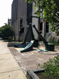 Image of Virginio Ferrari's Dialogo sculpture outside of Pick Hall
