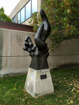 Image of Richard Hunt's Why sculpture outside the Smart Musem