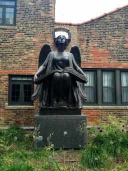 Image of Lorado Taft's Angel sculpture outside Midway Studios