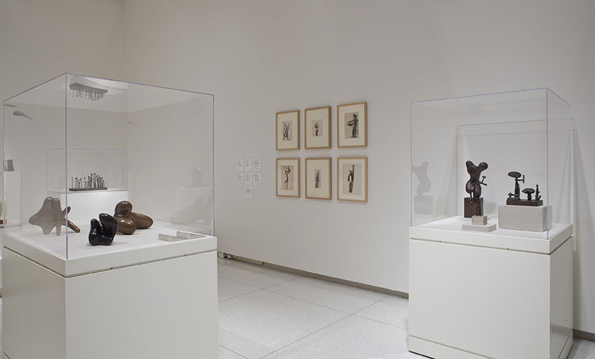 Installation view of Carved, Cast, Crumpled