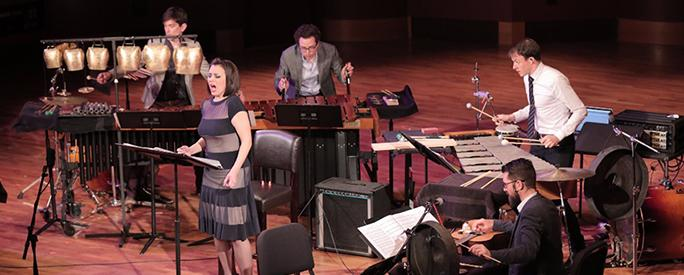 TCP and Rachel Calloway, mezzo-soprano, perform Christopher Cerrone's Goldbeater's Skin at the University of Notre Dame's DeBartolo Performing Arts Center. Photo by Kirk Richard Smith.