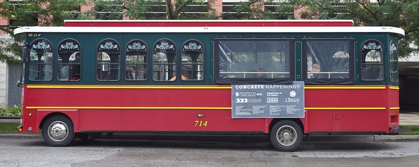 Image of a Chicago Trolley with a banner listing main funders of Concrete Happenings