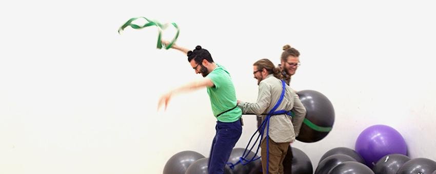 Andrew Bearnot, Department of Visual Art (UChicago), Ken Ellis-Guardiola, Department of Chemistry (UChicago) and Jeff Montgomery, Department of Chemistry (UChicago) experiment with gestures and choreography for their 2015-16 Arts, Science & Culture Grant Molecular Movement.