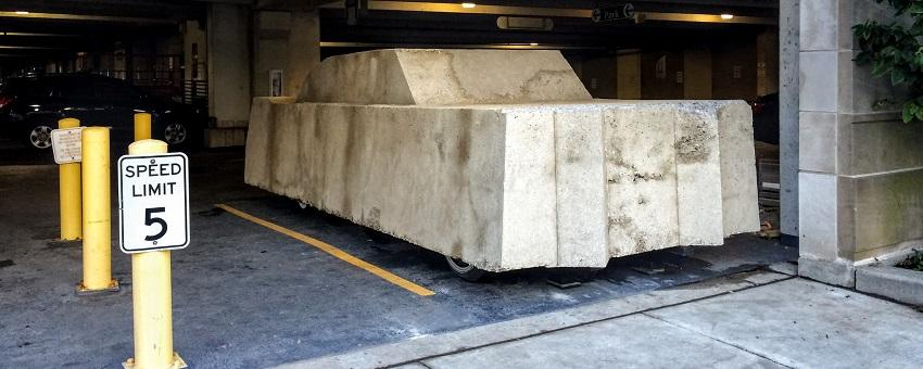 Image of Concrete Traffic sculpture in its new home in UChicago's Ellis parking garage