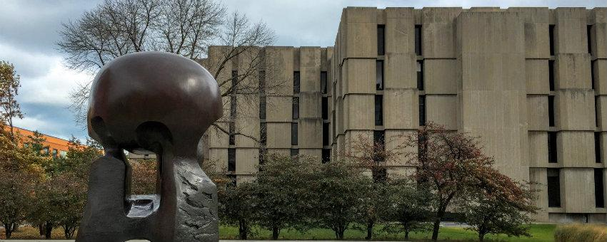 Image of Henry Moore's Nuclear Energy with Regenstein Library in background
