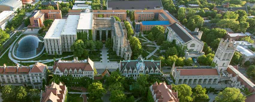 Aerial view of UChicago libraries
