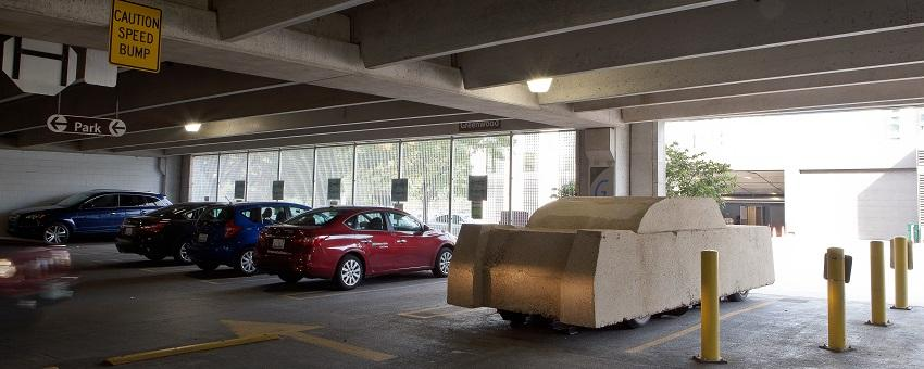 Image of Wolf Vostell's Concrete Traffic sculpture in the Ellis parking garage