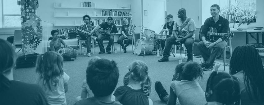 Steve Coleman and Five Elements leading a workshop with Hyde Park Art Center summer camp students.