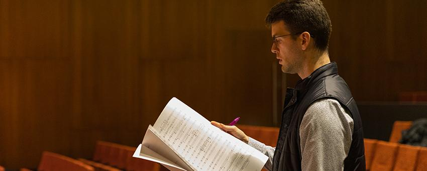 Composer Clay Mettens in rehearsal