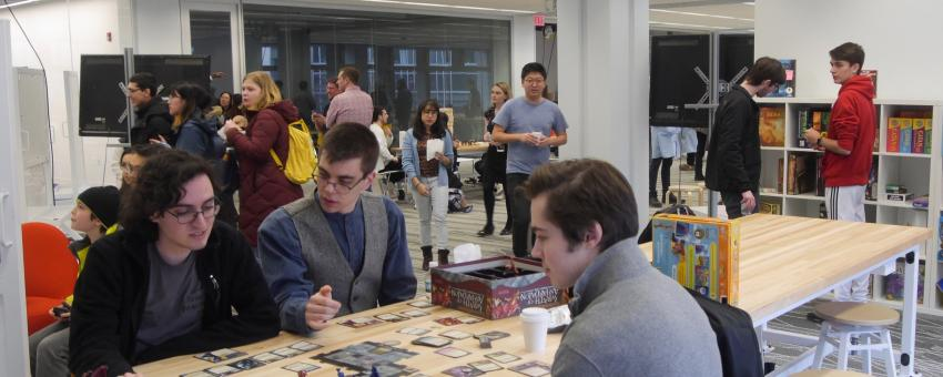 Videogame and tabletop play in the Weston Game Lab at the MADD Center Open House, March 2019