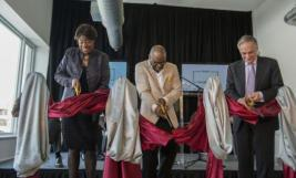 Cutting the ceremonial ribbon at the Arts Incubator