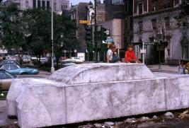 Image of Concrete Traffic sculpture taken in June 1970 when it was installed at Ontario Street and Saint Clair in Chicago