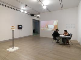 Installation View (from left to right) works by Clare Koury, Jonah Freedman, Scarlett Kim. Photo by Tom Van Eynde