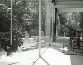 Lions outside of the Farnsworth House, Plano, IL, undated. Courtesy of the Newberry Library, Midwest MS Farnsworth, Bx.1 Fl.13, Ludwig Mies van der Rohe house.