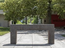 Richard Serra, Seattle Right Angles Propped, 1991, Forged steel in two parts. Smart Museum of Art, Gift of the Doris F. Sternberg family, 2018.75.