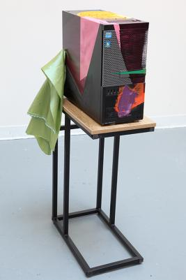 Jessica Stockholder, Sorrow, 2017, CPU, oil paint, silk fabric, vinyl, table, hardware.