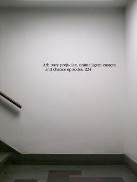Instance the determination, text in Social Sciences Research Building. Photo by Maria Perkovic.