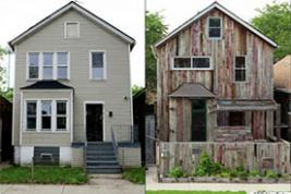 The Archive House, the first of Theaster Gates' Dorchester Projects, before and after. As is the case with Gates' art, the Archive House and his other sites incorporate many reclaimed materials.