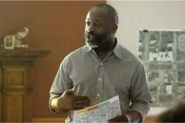 Theaster Gates presents at community meeting