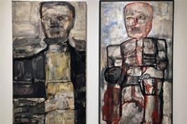 Monster Roster includes Leon Golub's unusual 1957 portrait of Abraham Lincoln (left). (Exhibit photo courtesy Smart Museum of Art)