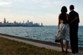 President and First Lady Obama view Chicago skyline from South Side