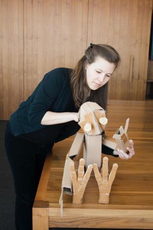 Marissa Fenley with a handmade puppet