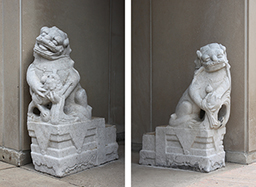 Chinese stone lions outside of the South entrance to the Cochrane-Woods Art Center