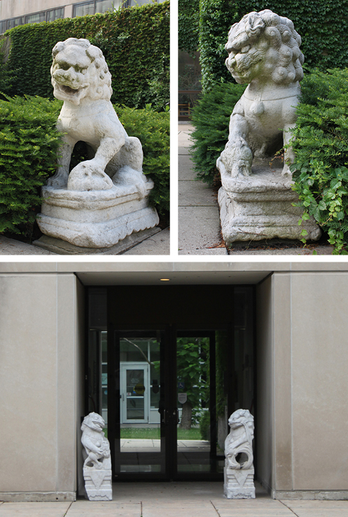 The four Chinese stone lions at the Cochrane-Woods Art Center